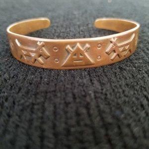 Aztec Copper Cuffed Bracelet